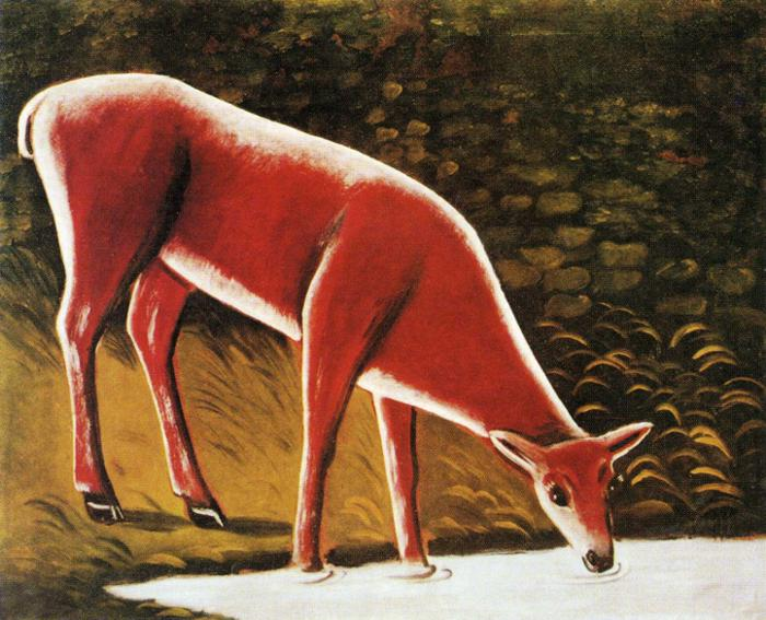 Niko_Pirosmani._Roe_Deer_by_a_Creek._Oil_on_oilcloth._Private_collection