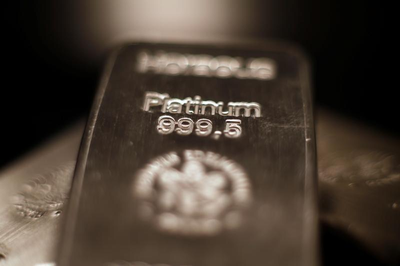 Platinum bars are stacked at the safe deposit boxes room of the ProAurum gold house in Munich, Germany March 6, 2014. REUTERS/Michael Dalder/File Photo